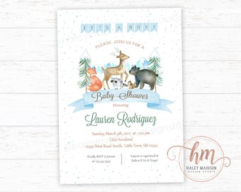 Winter Woodland Baby Shower Invitation, It's a Boy winter invitation, Woodland Invitation, Woodland baby shower, PRINTABLE FILE HM224