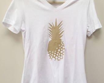 Women's Gold Pineapple V-Neck Shirt