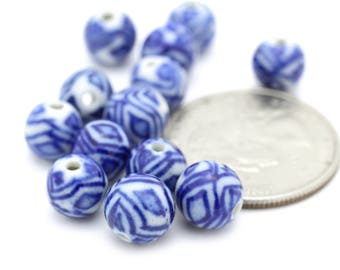 Vintage Navy and White Chinese Porcelain Beads 9mm