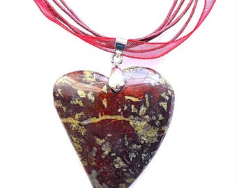 Quirky heart red moss jasper pendant necklace, on organza ribbon or 925 snake chain.