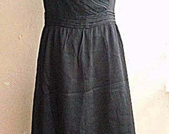 Vintage Little Black Dress - Chiffon Drape Dress - Black Party Dress - Medium