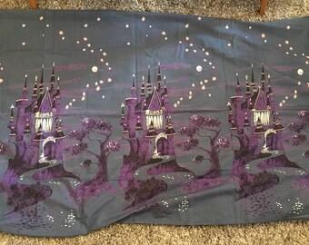 1950s Novelty Castle Border Print Fabric Blue 3 Yards