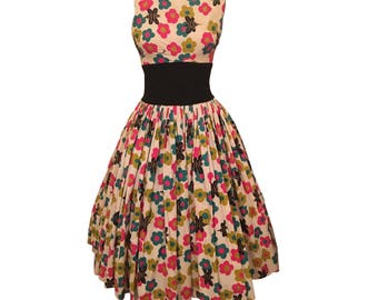 1950s Novelty Print Alfred Shaheen Dress Flowers Bees M / L