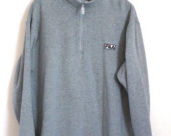 90s Vintage Fila Sweatshirt 90s Fila Patch Zip Up Pullover Sweatshirt Half Zipper Gray Sweatshirt Size XL