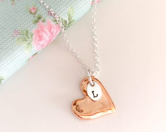 Rose Gold Heart Necklace, Personalised Gift Idea for Her, Heart Pendant, Rose Gold & Silver, Gift for Best Friend, One Initial Pendant