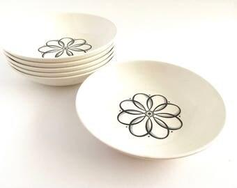 Taylor Smith Taylor Mid Century Spencerian Scroll Dessert Salad Cereal Bowls Set of 6 Modern Floral Black White