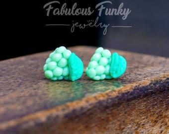 Grape earrings miniature food