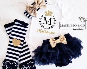 Crown Monogram Personalized Coming home Set Custom Name Gold Glitter with Heart Gold headband and  Legwarmer Set Birth Announcement Bodysuit