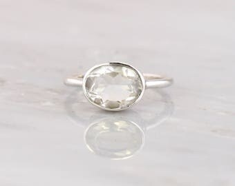 Colorless Ring Crystal Clear Stone Ring Sterling Silver Quartz Ring April birthstone Bridesmaid ring Gemstone Oval Shape cut