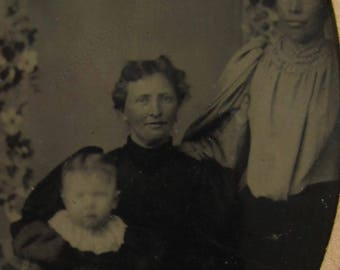 Life Without Daddy - Original 1880's Hard Life Family Tintype Photograph - Free Shipping