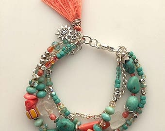 African Turquoise, Trade Beads, Quartz Crystal, Czech Glass Beads, Coral and Silver Multi Strand Bracelet