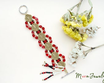 Macrame bracelet, micro-macrame, crimson red beige cream black, beadwork, beadwoven, bohemian, boho chic, gypsy queen, beaded cuff, tassel