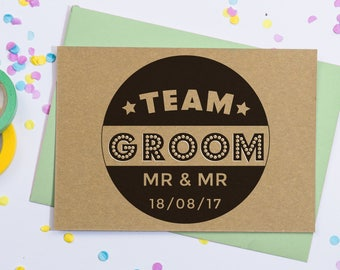 Personalised Groom and Groom Card | Personalised Mr and Mr Card | Personalised Gay Wedding Cards | Team Groom, Gay Save The Date Postcards