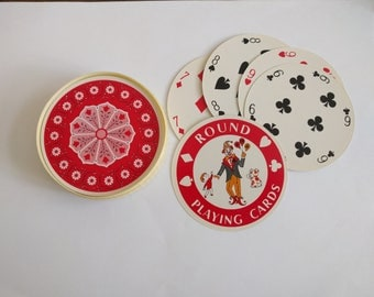 Vintage round playing cards poker standard deck circle complete game red white pink floral flowers