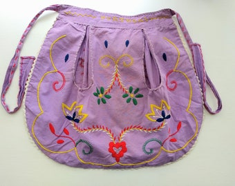 Vintage Portugal half apron purple embroidered floral flowers Mexican dress ethnic hippie boho yellow green red