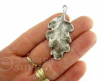 Antique Silver Plated Leaf Pendant, Necklace Jewelry, Silver Leaf Charm, Turkish Findings, Turkish Jewelry