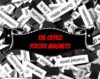 The Office Refrigerator Magnets, Poetry Word Magnets, Free Gift Wrap