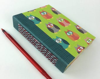 Small owl hand bound journal - owl lovers - notepad - long stitch on spine - Sketchbook - poetry book - tea stained pages -