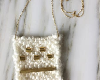 Little Weaved Necklace | Fluffy White Yarn with Brass Beads