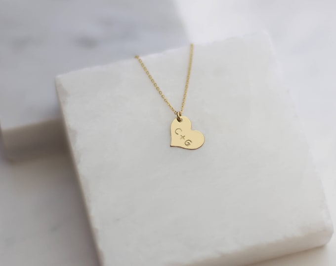 Personalized Heart Necklace 14K Gold Filled by E&E PROJECT