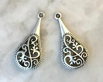 Antique Silver Filigree Teardrop Pendant - Filigree Drop Pendant - Teardrop Earring Charm - Filigree Drop Charm - PWT3194S – 6 charms
