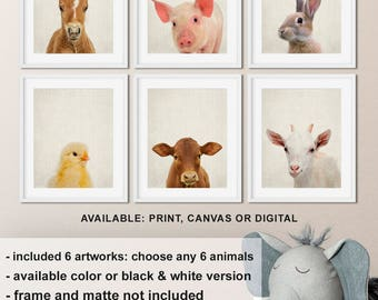Baby Farm Animals Prints, Nursery Farm Animal Wall Art, Farm Animal Nursery Decor, Farmhouse Baby Decor, Barnyard Animals Print/Canvas/Digi