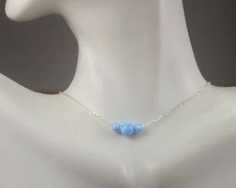 3 white Opals Necklace  Three Blue Opals Jewelry,Opal Choker necklace,twin mom gift. mother of 2 boys ,2 girls mother jewelry.6 mm Opal