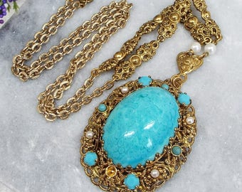 Vintage / Gold Tone Czech Filigree Turquoise & Pearl Statement Pendant Necklace
