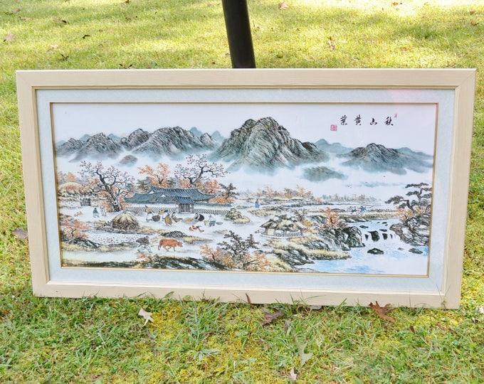 Vintage Asian Village Scene Landscape Mountains Signed Framed Large Size Asian Theme Wall Decor Panchosporch