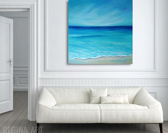 Large Abstract Painting, Abstract Ocean Canvas Art, Large Abstract Modern Seascape Wall Art, Blue Turquoise Coastal Beach Decor