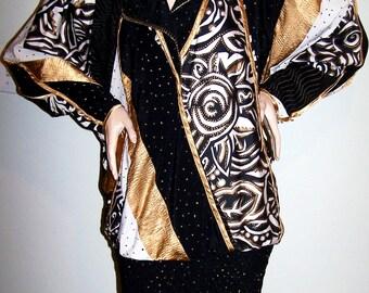 Vintage 1980's JEANNE MARC Dress Sz 8-10 Black/White/Gold Long-Sleeves BLOUSON Elastized Tight-Skirt Artistic Designer