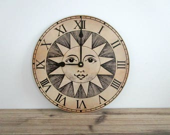 Sun Wall Clock - Unique Roman Numeral Wall Clock - Rustic Home Decor - Functional Wall Art - Vintage Graphic Wall Clock