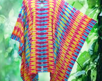 Tropical Retro Wearable Art Hand dyed Beach Cover Up Poncho Top