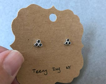 Silver Tiny 3 Black CZ Dot Stud Earrings - Sterling Silver