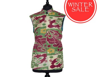WINTER SALE - KANTHA Waistcoat - Red and green pattern. Reverse turquoise - Small size