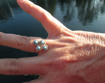 Petit Point Turquoise and Sterling Silver Ring Size 6.75