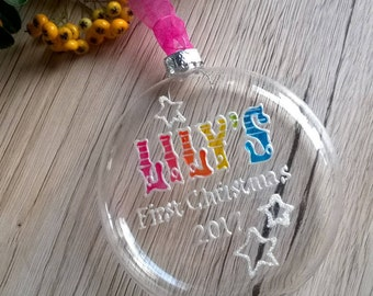 Babys first christmas bauble, babys first christmas decoration, personalised baby bauble, first ornament, tree decoration