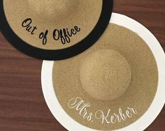 Embroidered Mrs. Hat - Honeymoon Beach Hat -  Floppy Hat - Mrs. Beach Hat - Bride Gift - Bridesmaid Gift - Monogram Beach Hat - Custom