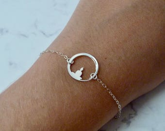 Buddha bracelet women, yoga charm sterling silver, spiritual Christmas gift, stocking stuffer, meditation, karma circle