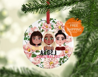 3 friends ornament, personalized, 3 bff gifts, 3 best friends, 3 friends gift, custom squad Christmas ornament