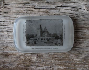 1893 Columbian Exposition Chicago World's Fair Indiana State Building Paperweight - Libbey Glass Co.