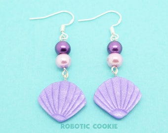 Mermaid shell Earrings Purple polymer clay