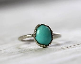 Turquoise Ring Promise Ring December Birthstone Silver Ring Electroformed Ring Blue Stone Ring Simple Ring Fine Silver Ring
