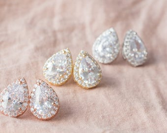 Cubic Zirconia Teardrop Studs - Pear Shaped cz Posts - Cubic Zirconia Bridesmaid Post Earrings - CZ Pear Shaped - BZ5, BZ6, BZ7