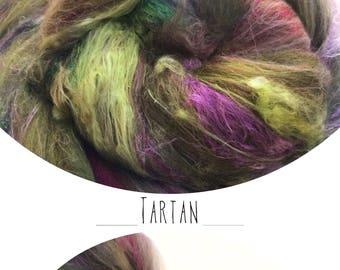 "Hand carded batt ""TARTAN"" with mulberry silk - spinning felting weaving - made to order"