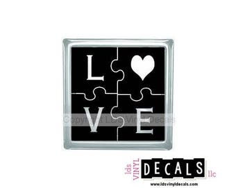 LOVE (puzzle) - Valentine and Family Vinyl Lettering for Glass Blocks