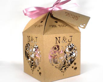 Floral hearts cupcake favour box, Wedding favor box, Laser cut wedding favour box, Personalised cupcake box, Extra large favour box
