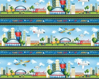 Airplane Fabric, Airport Fabric, Ready for Takeoff, Renae Lindgren, Wilmington Fabric - Border Stripe 65183 479 - Priced by the half yard