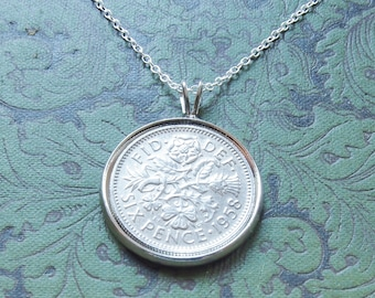 1958 Birthday Gift, Lucky Sixpence Necklace, 1958 Jewelry Gift, 60th Birthday Gift, 60th Birthday Ideas, 60th birthday gifts for women