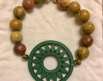 Out West Beaded Bracelet with Wooden Pendant